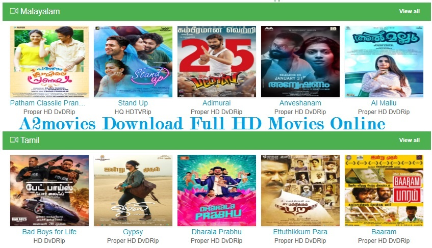 A2movies Download Tamil, Malayalam Full HD, Telugu Movies Online